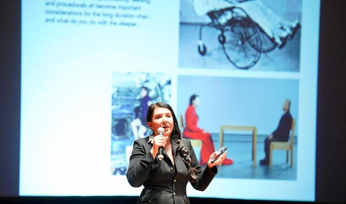 Marina Abramovic speaks to a full house in Wellin Hall on Feb. 29.