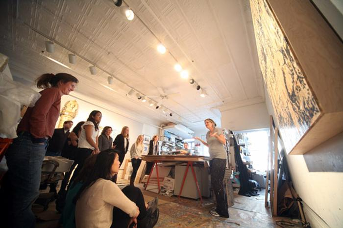 Jane Hammond talks about her work. PHOTO: BY SUMAN SARKER '11