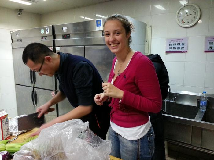 Students prepare Thanksgiving dinner in Beijing.