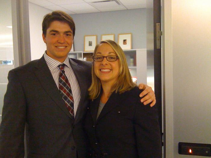 Barrett Meister '15 with Aliette L. Estrada-Flaggert '97, senior vice president, global marketing at Bank of America.