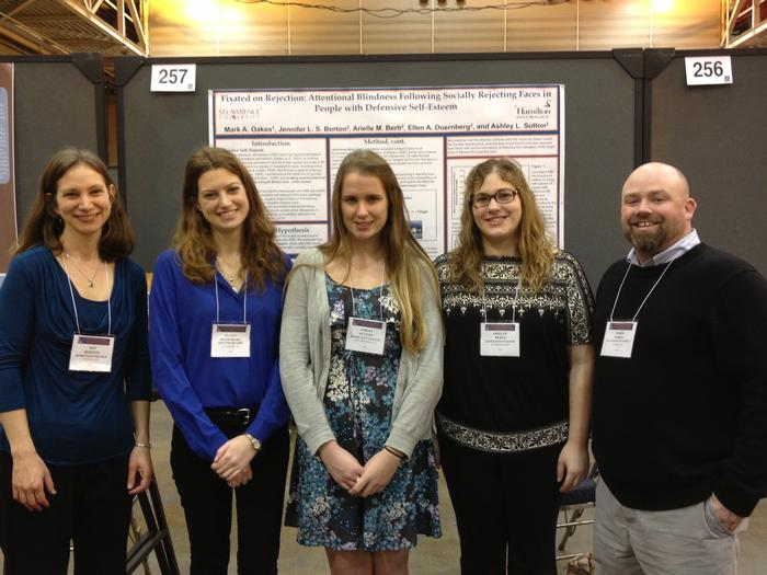 Prof. Jen Borton, Ellen Doernberg '13, Ashley Sutton '13, Arielle Berti '13, and former Hamilton Professor Mark Oakes.
