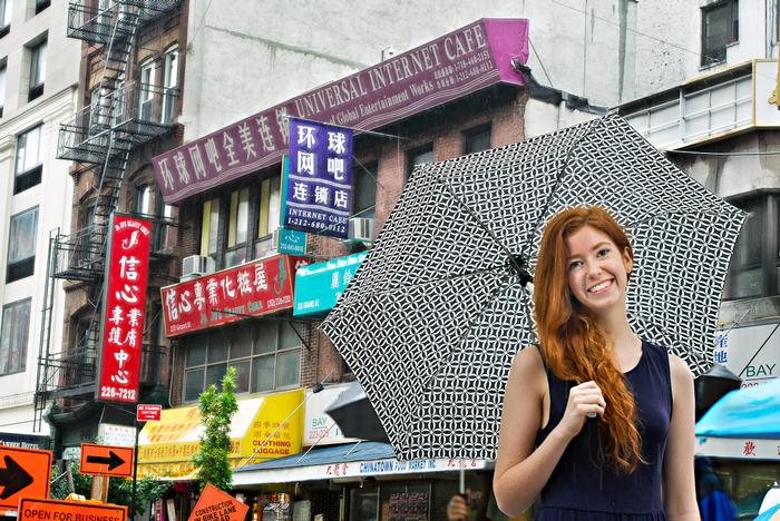 Candice McCardle '15 poses in Chinatown near her internship at The Chinese-American Planning Council.