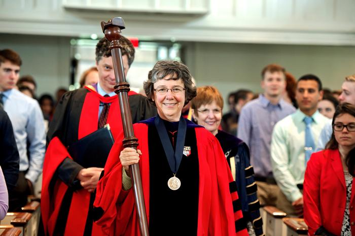 College Marshall Margaret Thickstun leads the procession. PHOTO: BY NANCY L. FORD