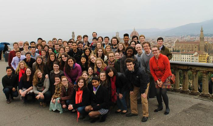 The skyline of Florence serves as a backdrop to the Hamilton choir. PHOTO: BY ANDREA WROBEL '13