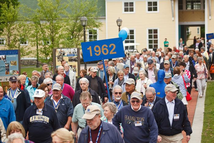 Members of the Class of 1962 march in the Reunion parade.   PHOTO: BY LAURA LAUREY