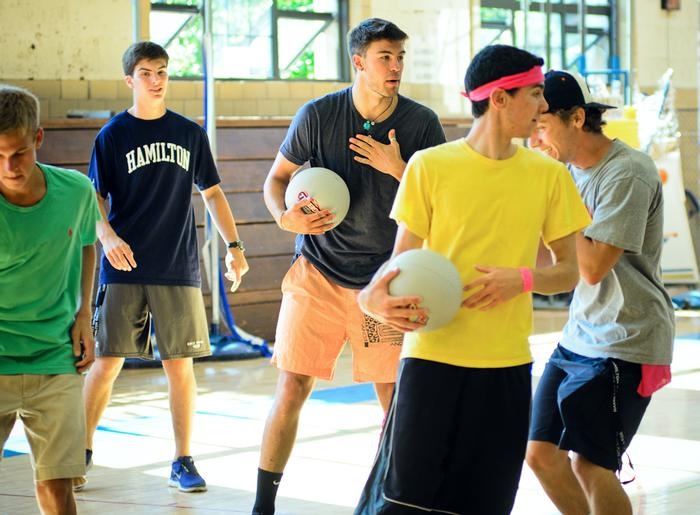 Students play dodgeball during Orientation week activities. PHOTO: BY MEGAN BARTON