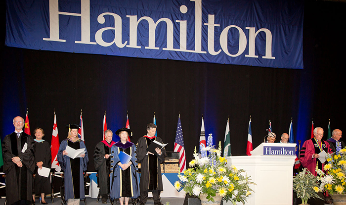 Hamilton's 2014 Commencement ceremony begins. PHOTO: VICKERS & BEECHLER