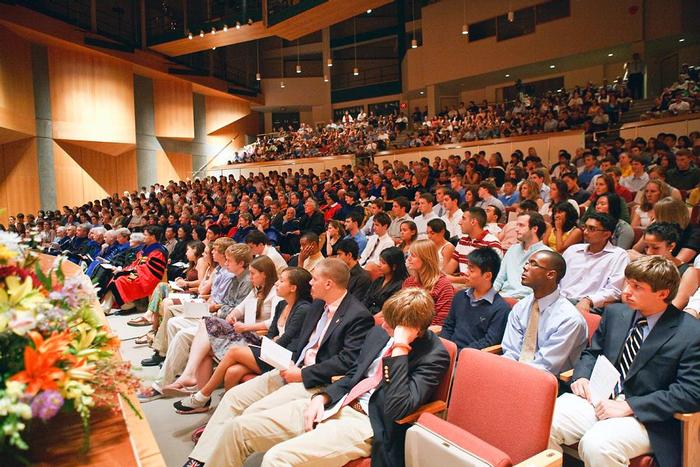 Students and faculty listen to President Joan Stewart's welcome in Wellin Hall. PHOTO: BY LAURA LAUREY