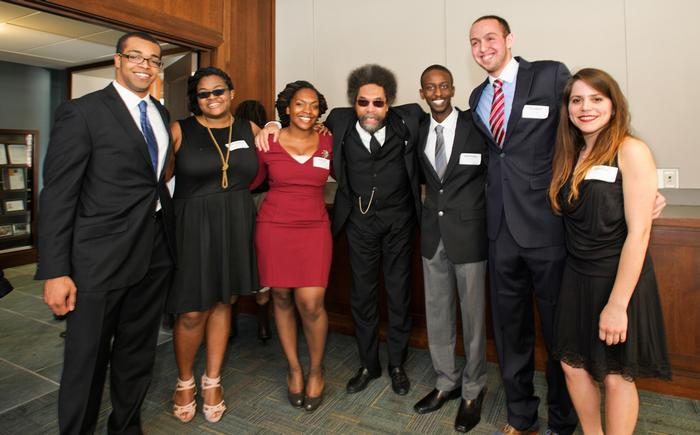 Joseph Anderson'13, Nanyamka Fleming '14, Athina Chartelain '13, Anthony Jackson '15, Reuben Dizengoff '15, and Gretha Suarez '15, pose for a photo with Cornel West, center. PHOTO: BY NANCY L. FORD
