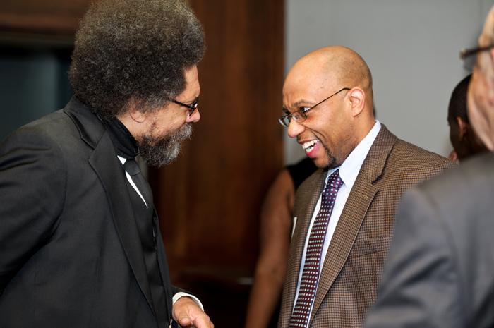 Cornel West talks with Professor Todd Franklin during the reception. PHOTO: BY NANCY L. FORD