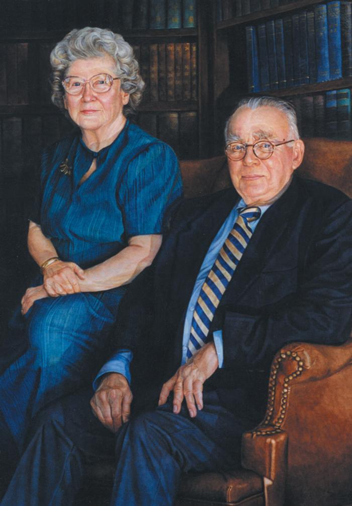 A portrait of Dick and Patsy Couper hangs in the Burke Library in recognition of their longtime support. (Painted by Monica Acee in June 1999)