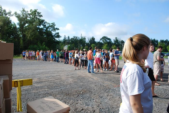 Students started lining up at 7:30 a.m. for the tent sale.