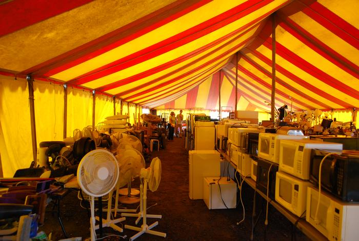 The inside of the tent resembled an appliance warehouse. PHOTO: KRISTEN MORGAN-DAVIE '12
