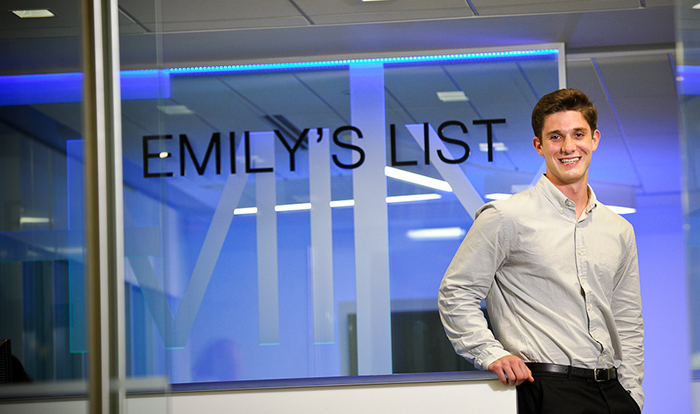 Matthew Creeden '16 shown at his internship at Emily's List in Washington, D.C.