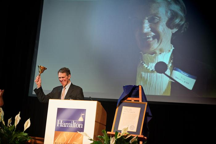 David Smalley accepts the Bell Ringer Award in memory of his late wife Trix P'93.  PHOTO: BY NANCY FORD
