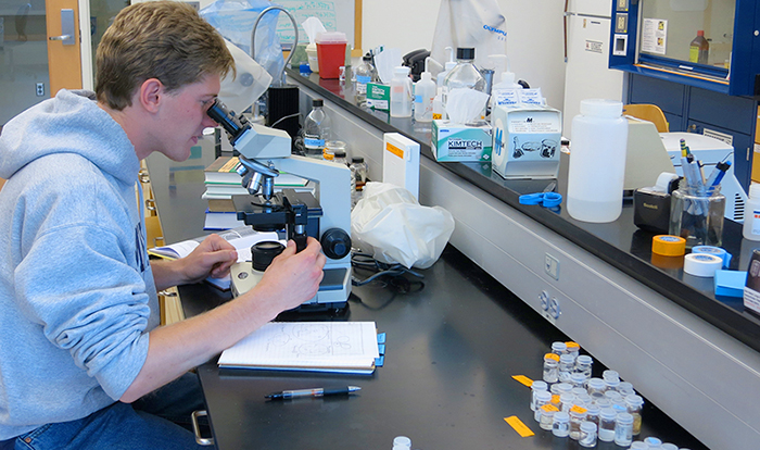 Douglas Santoro '14 in the lab.