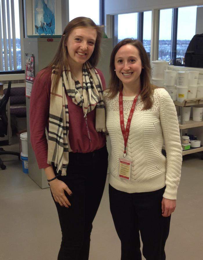 Elizabeth Larson '16 and Kristin Alongi '08 at Rich Products in Buffalo, N.Y., where Alongi works in Research & Development.