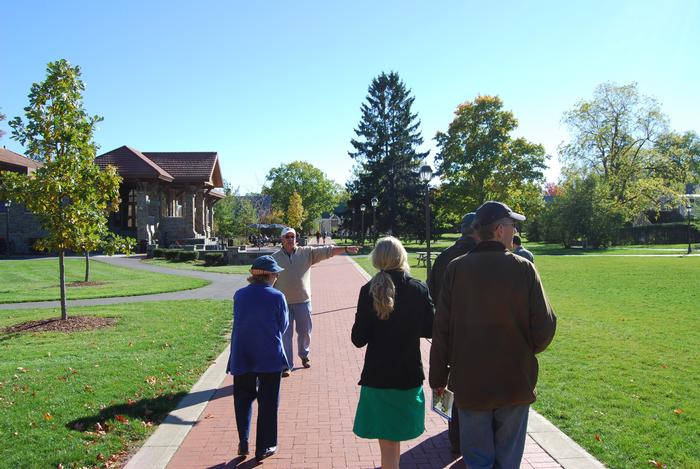 Terry Hawkridge led a Fallcoming campus tree tour. PHOTO: BY DAN ROUILLIER