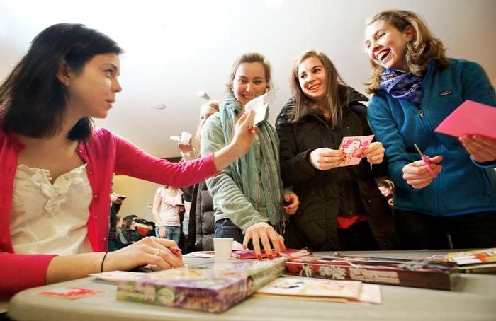 Students decorated Valentines during the event. PHOTO: BY NANCY FORD