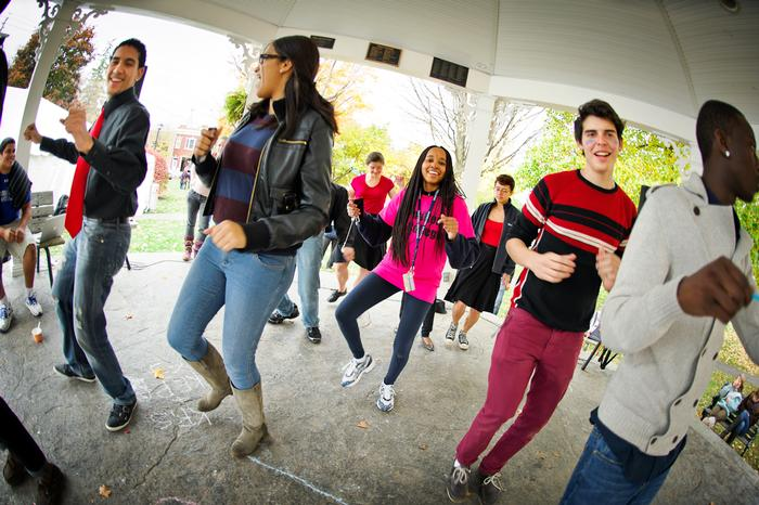 Students dance the Electric Slide during Fall Fest. PHOTO: BY NANCY FORD