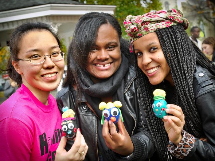 From left, Jessica Li '14, Jonice Mendoza '14 and Tiffany Andreade '13 show off the stress balls they made.  PHOTO: BY NANCY FORD