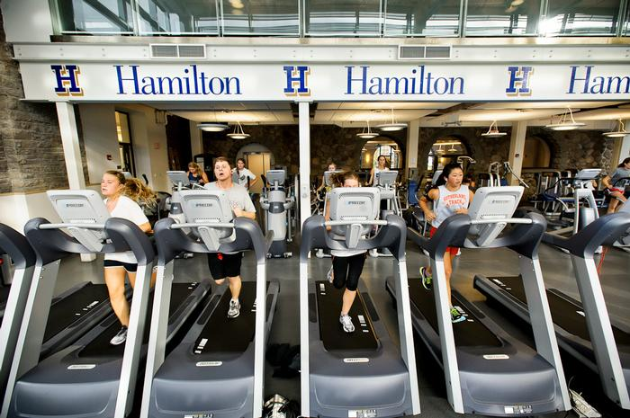 Students give the new treadmills a run. PHOTO: BY NANCY FORD