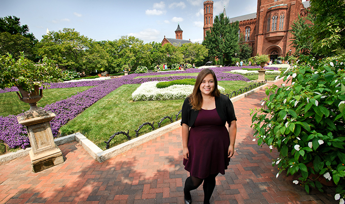 Ashlie Flood '15 at the Smithsonian Gardens in Washington, D.C.