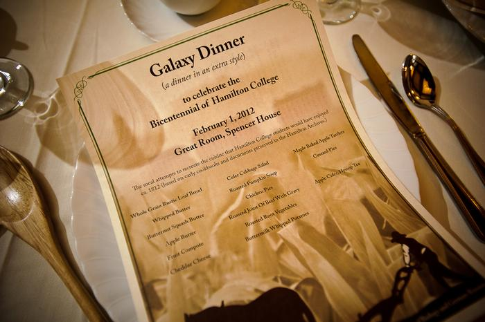 The Galaxy Dinner menu. PHOTO: BY NANCY FORD