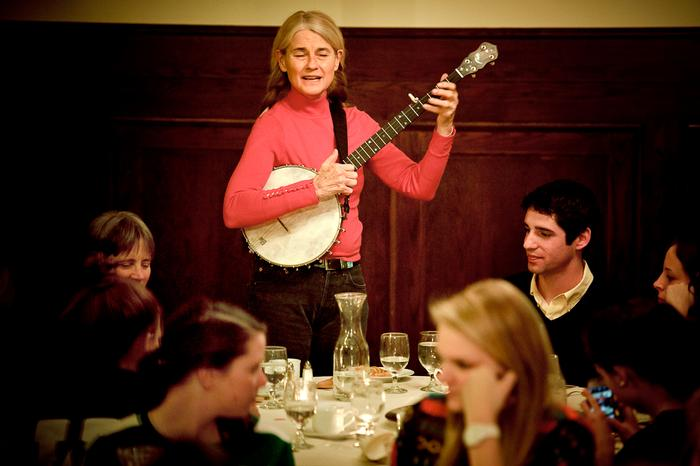 Sheila Kay Adams, from Madison County North Carolina, sings and plays a banjo at the dinner. PHOTO: BY NANCY FORD