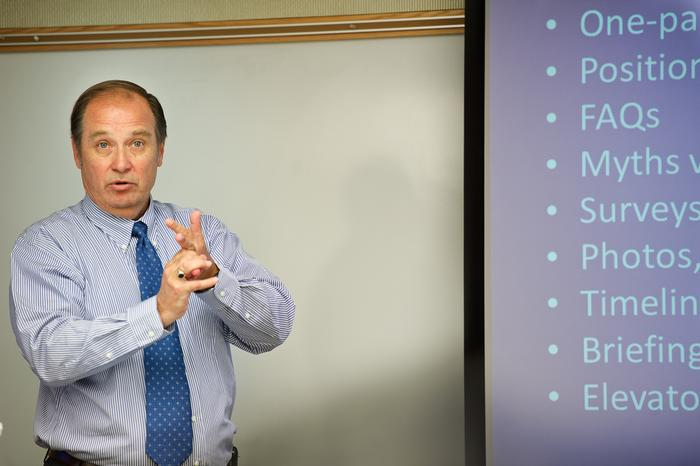 George Baker '74 talks to his senior seminar in lobbying class. PHOTO: BY NANCY FORD