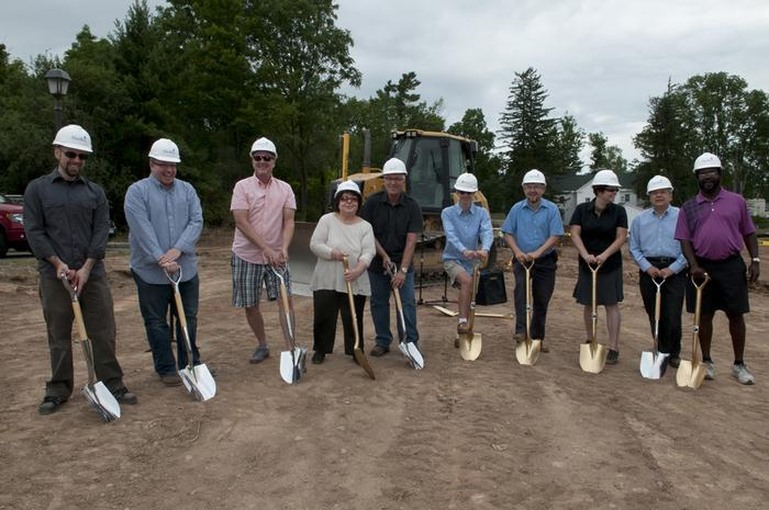 Members of Hamilton's theatre and studio arts faculty at the groundbreaking. PHOTO: BY CLAUDETTE FERRONE '88