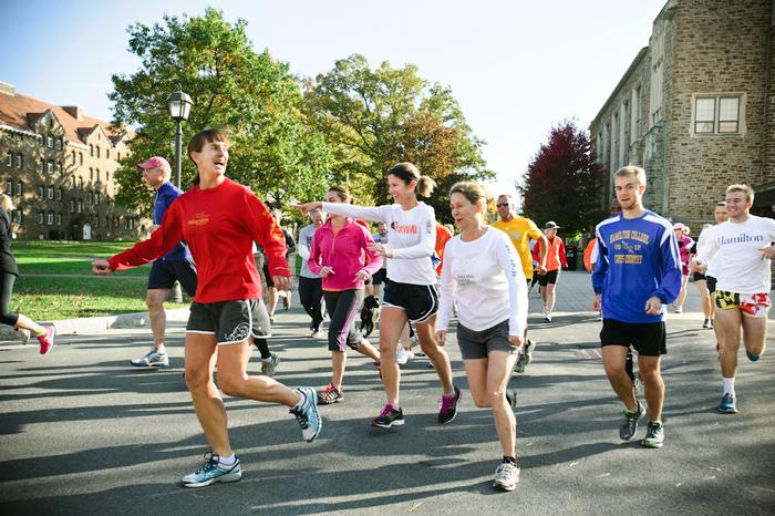 Participants take off for their run around campus during the first Ham & Legs Fun Run/Walk.  PHOTO: BY MEGAN HAMAN