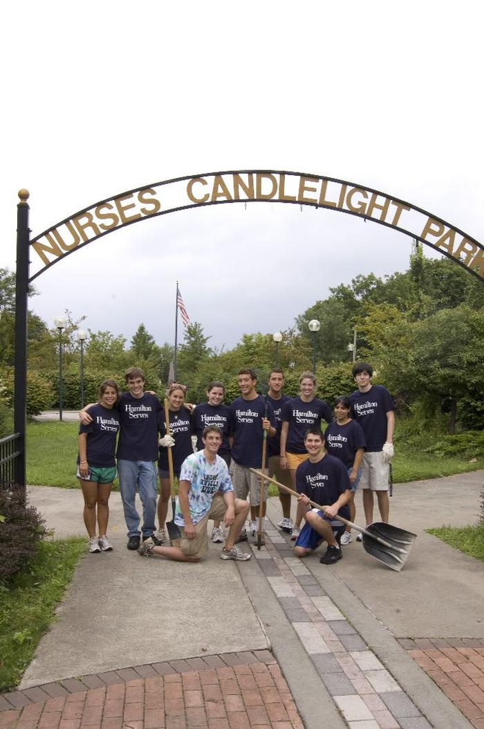Cleaning up Nurses Candelight Park in Utica PHOTO: J.D. ROSS