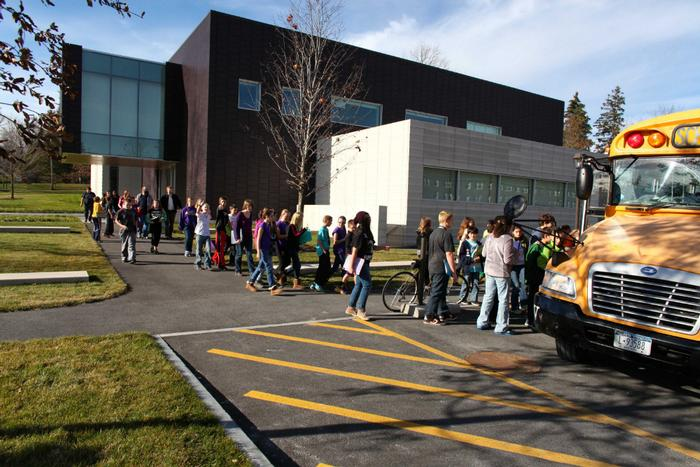 Holland Patent 7th graders head to their bus after a trip to the Wellin. PHOTO: JOHN BENTHAM