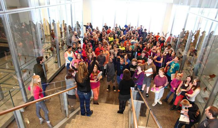 Holland Patent students gather in the Wellin Museum atrium. PHOTO: JOHN BENTHAM
