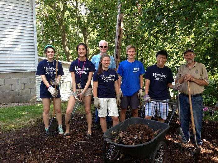 Student volunteers at the Clinton Historical Society. PHOTO: BY AMY JAMES