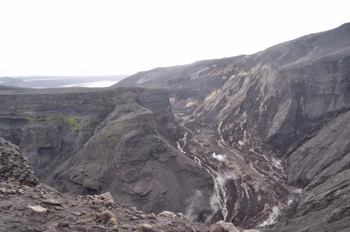 Lava still flows at the volcano.