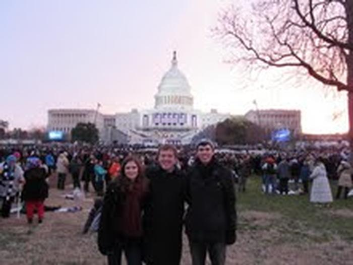 Krista Hesdorfer '14, John Johnson '14, Will Rusche '13 on the Mall.