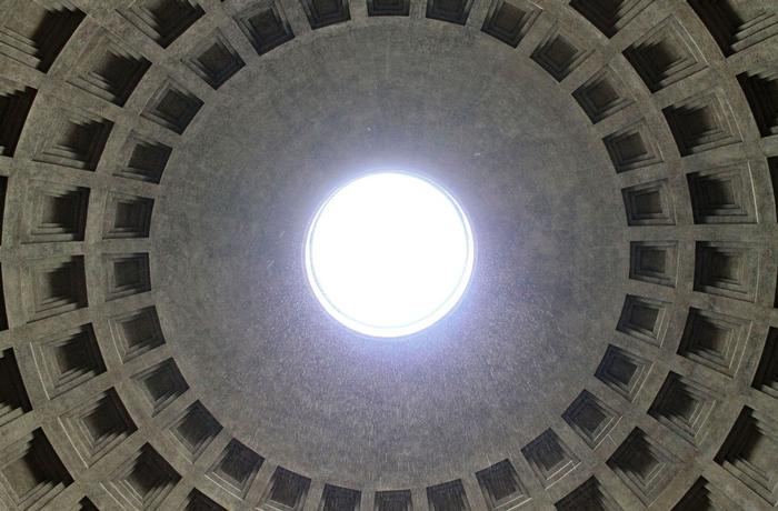 The only source of light in the Pantheon is an open hole at the top. It is actually raining inside in this picture. PHOTO: BY ANDREA WROBEL '13