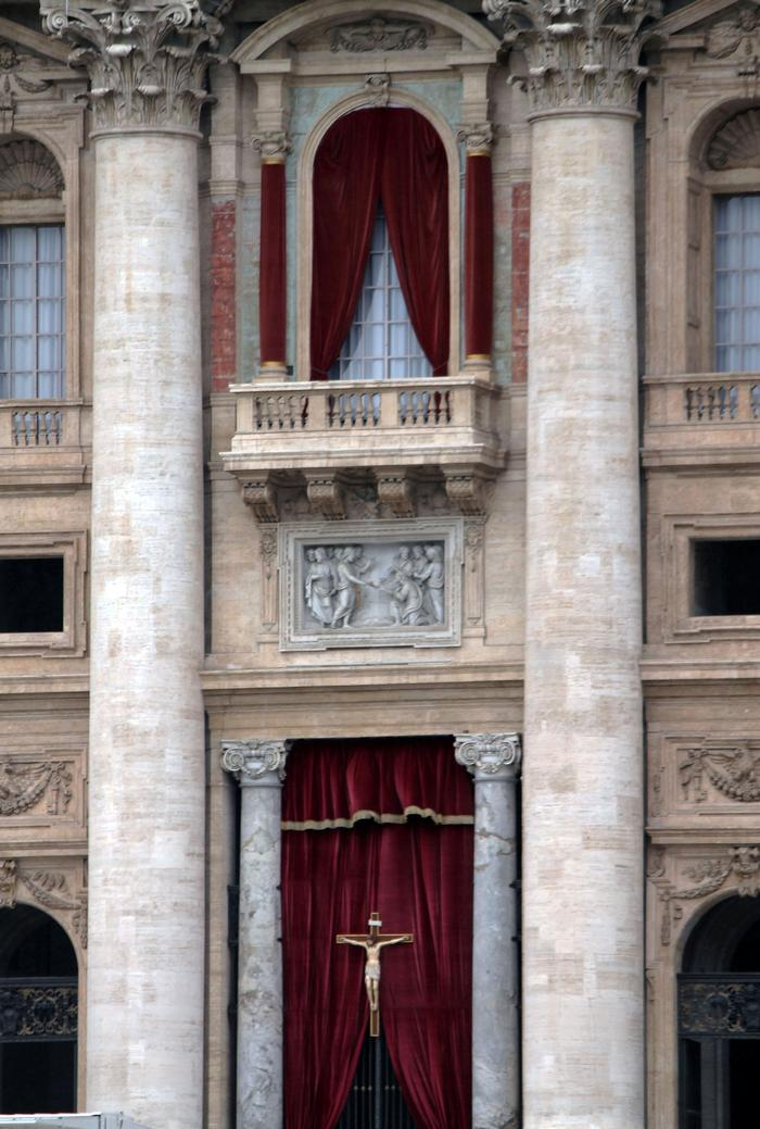 Library window at Saint Peter's Basilica, where the Pope greats the crowd and gives his urbi et orbi blessing. PHOTO: BY ANDREA WROBEL '13