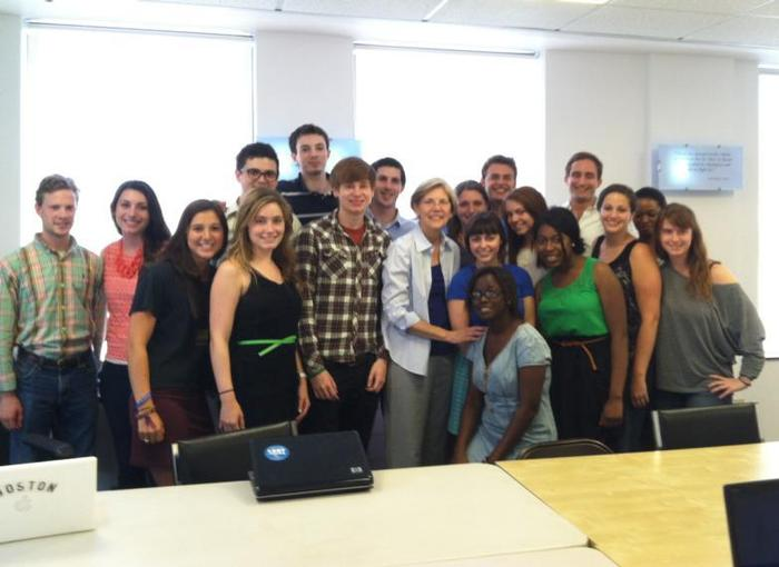 Jake London '14 (back row, center) and interns at the Mass. party headquarters with Senate candidate Elizabeth Warren.