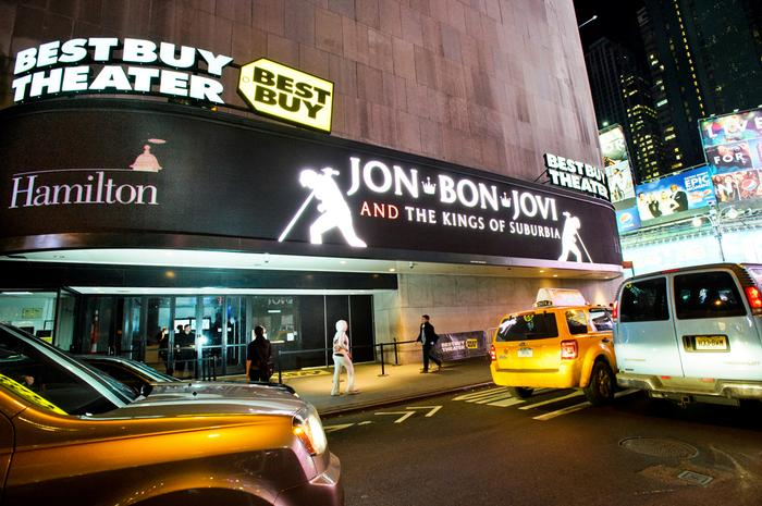 The Best Buy Theatre marquee announcing Jon Bon Jovi's performance to benefit Hamilton. PHOTO: BY NANCY FORD