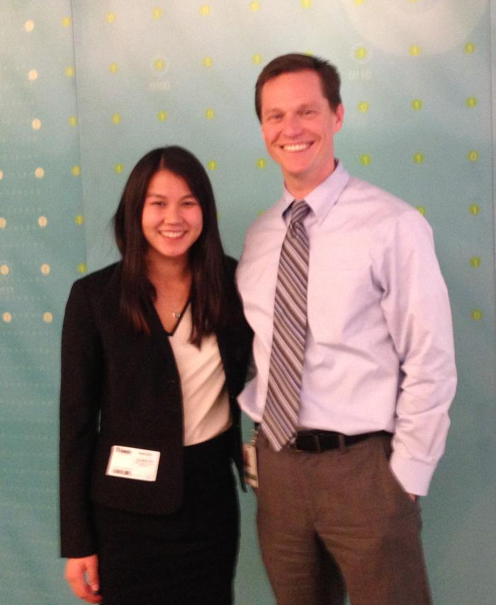 Lia Parker-Belfer '16 and Matt Hogan '99, vice president of communications at Fidelity Investments.