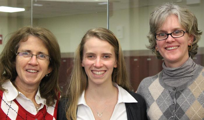 Kate Parker-Burgard '84, Liz Morris '16 and Beth Yavenditti '97 at St. Luke's School.