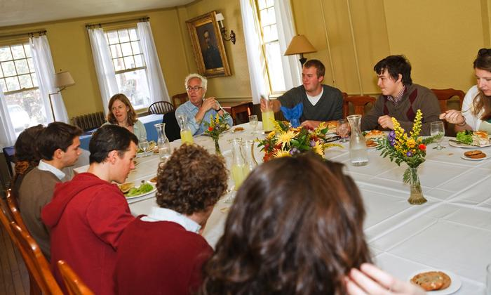 Harvard professor Louis Menand dined with students before his lecture. PHOTO: BY LAURA LAUREY