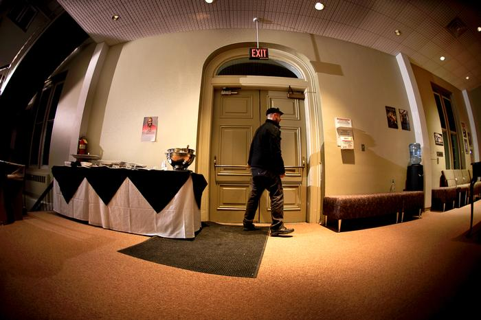 Technical director Dave Stoughton locks the door for the last time. PHOTO: NANCY FORD