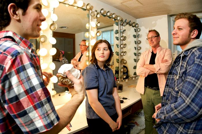From left , Michael Gagnon '16, Allison Schuette '16, Director Craig Latrell and Andrew Gibeley '16 chat in a dressing room. PHOTO:  NANCY L. FORD