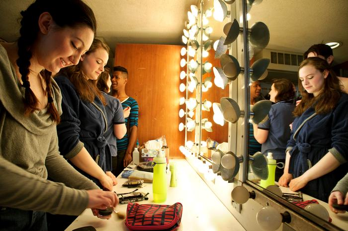 Cast members get ready for rehearsal for the last production at Minor Theater. PHOTO: NANCY FORD