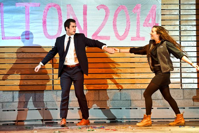 Katie Glusac '17 helps Jon Carkeek '17 with his dance routine. PHOTO: NANCY FORD