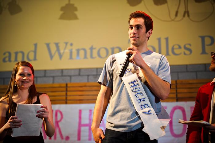 Mr. Hockey Jon Carkeek '17 answers a question. PHOTO: NANCY FORD